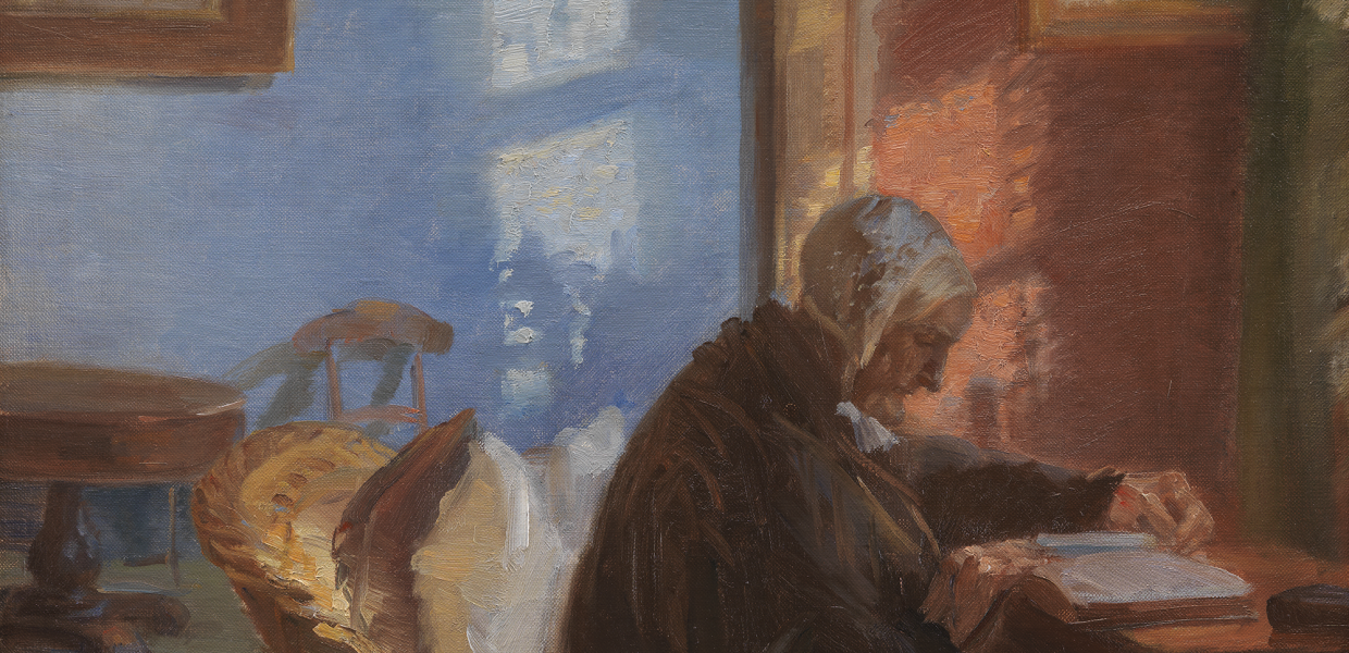 The Artist's Mother Ane Hedvig Brøndum in the Blue Room. Anne Ancher, 1909, Statens Museum For Kunst, CC0