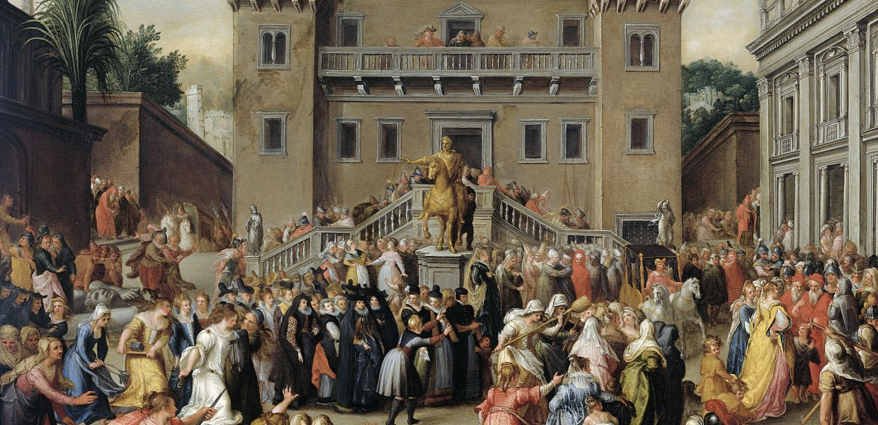 The Women of Rome Gathering at the Capitol. Pieter Isaacsz., c. 1600 - c. 1602, Rijksmuseum, public domain